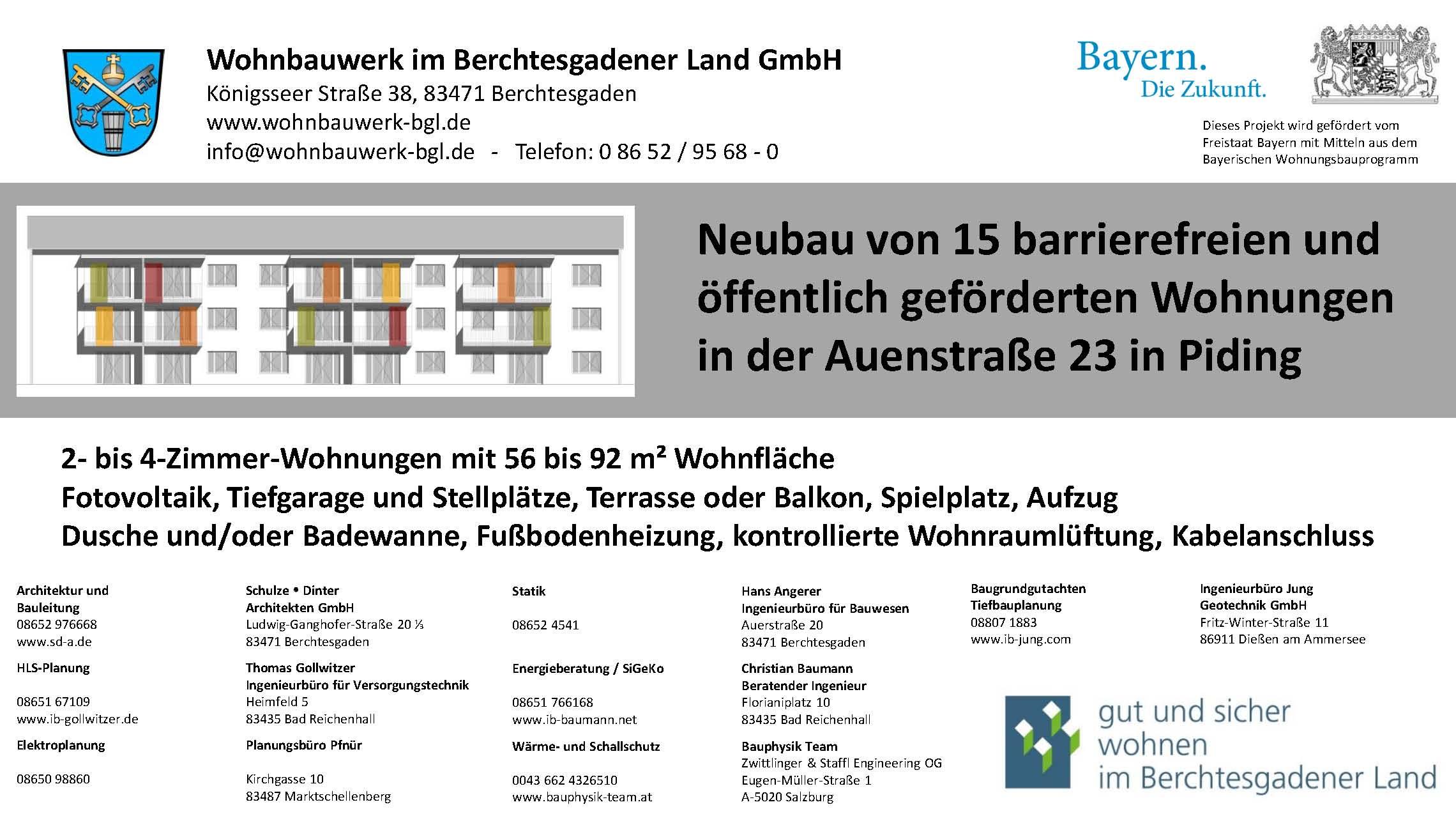 Bautafel Auenstraße 23 Piding